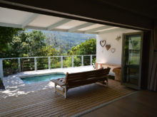 Open plan living to pool area