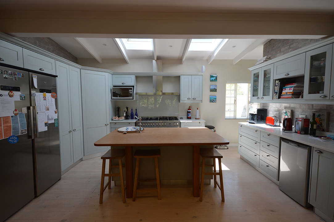 Open plan kitchen with skylights